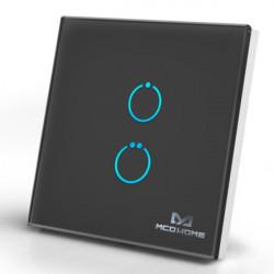MCOHOME - Interrupteur tactile en verre Z-Wave 2 charges, Noir