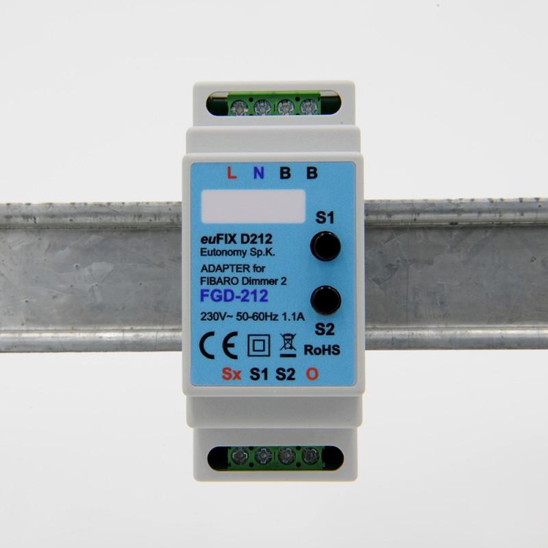 EUTONOMY - Adaptateur euFIX DIN pour Fibaro FGD-212 (avec boutons)