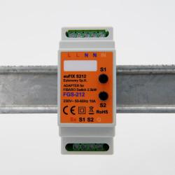 EUTONOMY - Adaptateur euFIX DIN pour Fibaro FGS-212/FGS-214 (avec boutons)