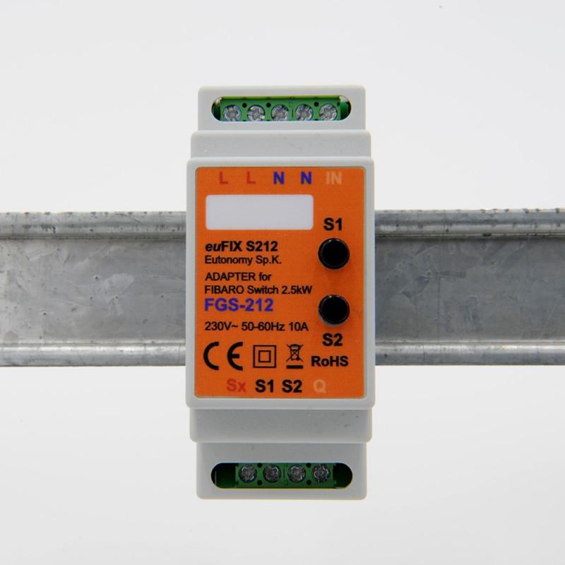 EUTONOMY - Adaptateur euFIX DIN pour Fibaro FGS-212 (avec boutons)