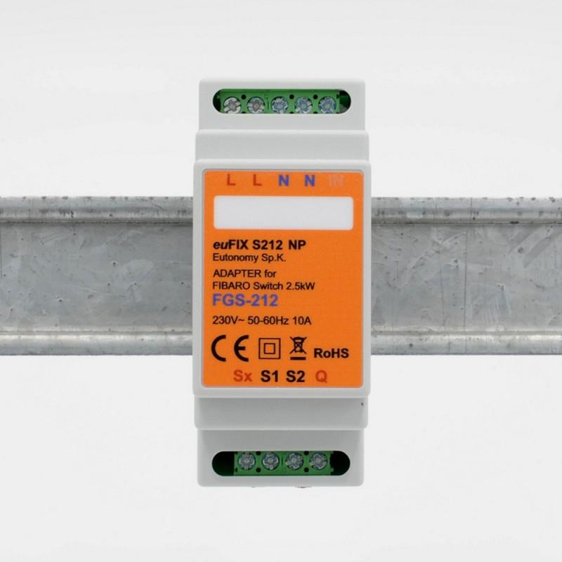 EUTONOMY - Adaptateur euFIX DIN pour Fibaro FGS-212 (sans boutons)