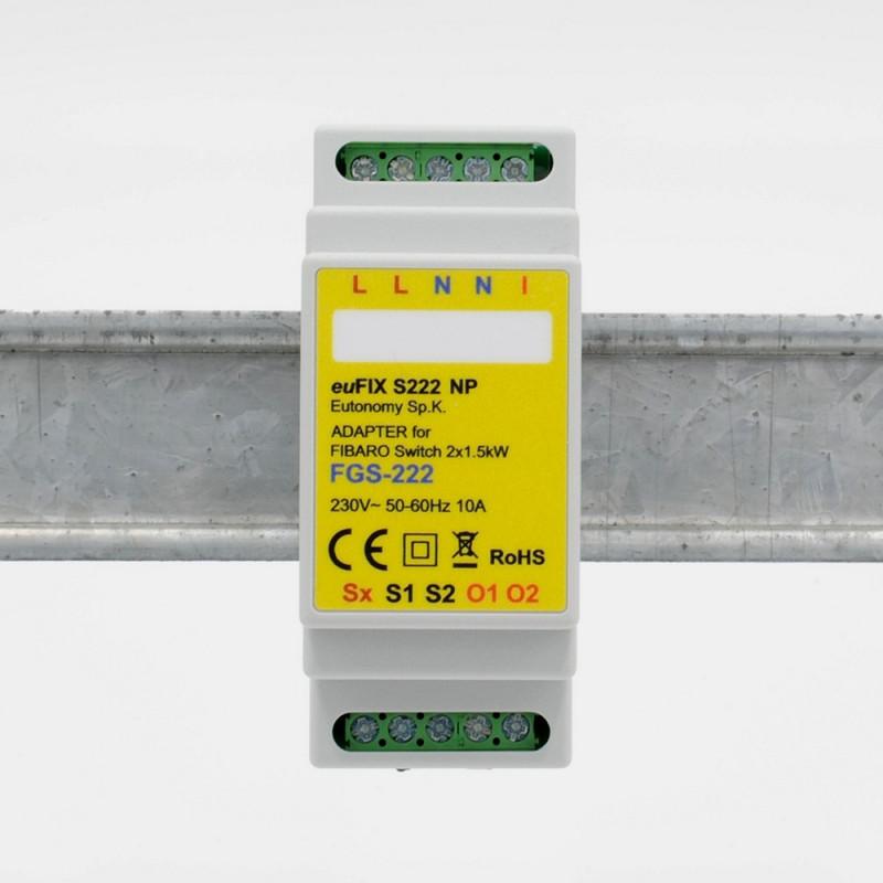 EUTONOMY - Adaptateur euFIX DIN pour Fibaro FGS-222 (sans boutons)