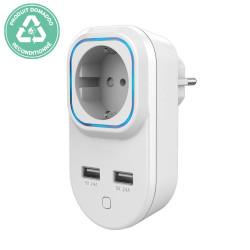 RECONDITIONNE - HANK - Prise commandée et consomètre Z-Wave+ avec 2 ports USB