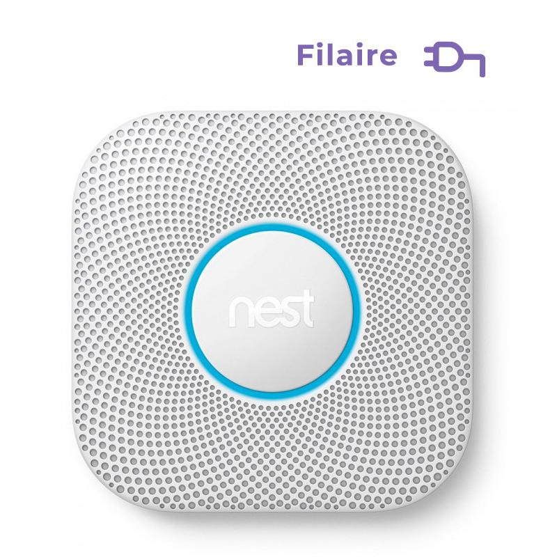 GOOGLE NEST - Détecteur de fumée et monoxyde de carbone Google Nest Protect filaire
