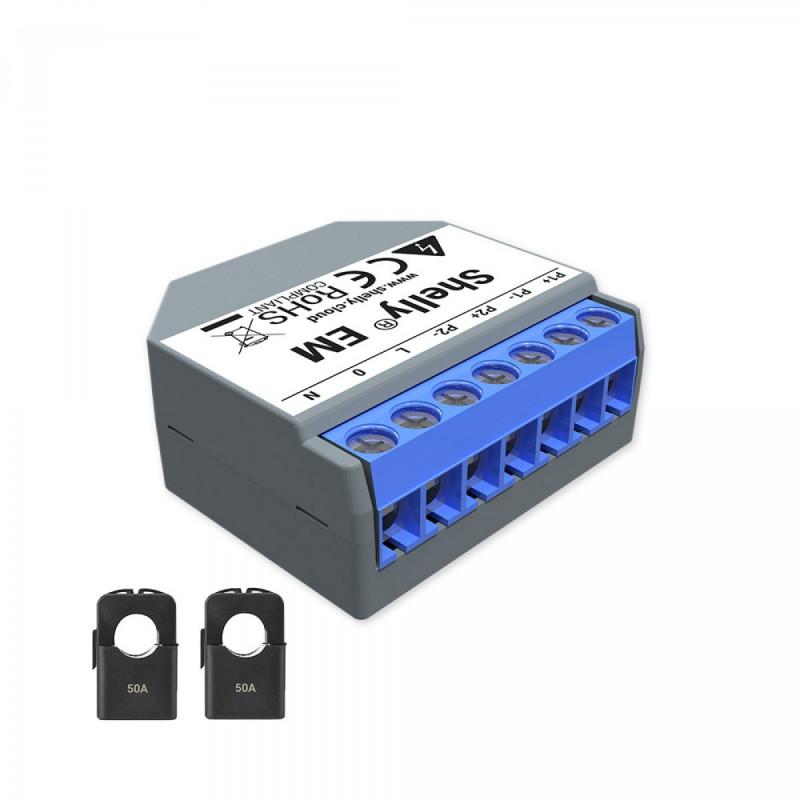 SHELLY - Compteur d'énergie monophasé Wi-Fi Shelly EM avec deux pinces ampéremétriques...