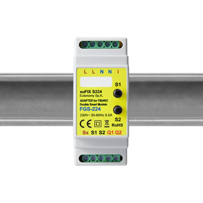 EUTONOMY - Adaptateur euFIX DIN pour Fibaro Double Smart Module FGS-224 (avec boutons)