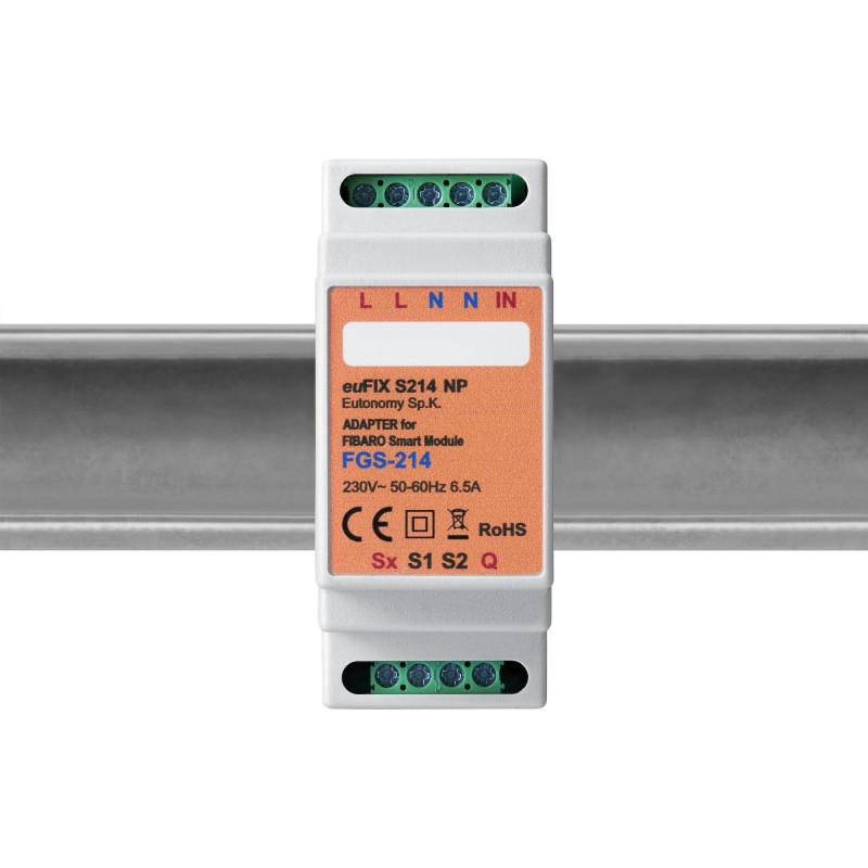 EUTONOMY - Adaptateur euFIX DIN pour Fibaro Smart Module FGS-214 (sans boutons)