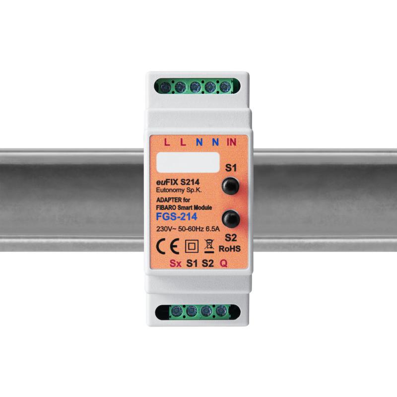 EUTONOMY - Adaptateur euFIX DIN pour Fibaro Smart Module FGS-214 (avec boutons)