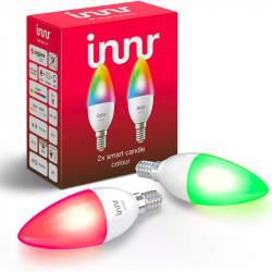 INNR - Ampoule connectée type E14 - ZigBee 3.0 - Pack de 2 ampoules - Multicolor RGBW + Blanc réglable - 2200K à 6500K