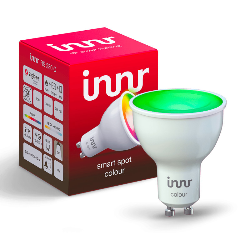 INNR - Ampoule connectée type GU10 - ZigBee 3.0 - Multicolor RGBW + Blanc réglable - 1800 à 6500K