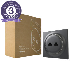 FIBARO - Prise murale 2 ports Ethernet Fibaro Walli N Ethernet Outlet Anthracite