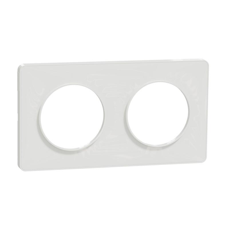 SCHNEIDER ELECTRIC - Plaque de finition 2 postes BLANC pour interrupteur ODACE