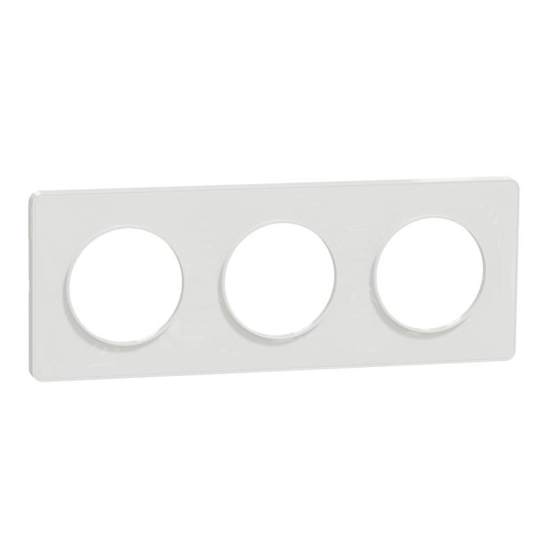 SCHNEIDER ELECTRIC - Plaque de finition 3 postes BLANC pour interrupteur ODACE