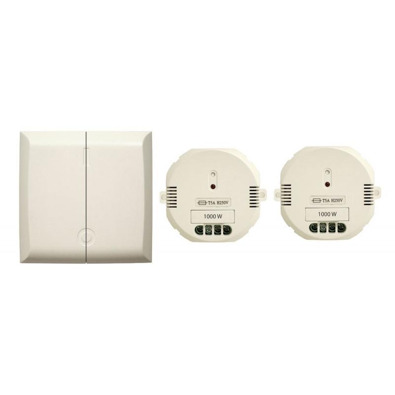 DiO - Interrupteur sans fil double + 2 modules ON/OFF 1000W