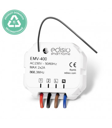 RECONDITIONNE - EDISIO - Récepteur 868,3 MHz 2x Marche/Arrêt ou Ouvrir/Stop/Fermer (2 x 2A)