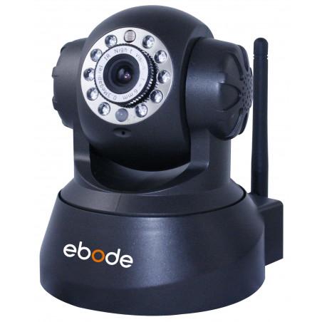EBODE Caméra IP WiFi Pan/Tilt vision de nuit, angle 90° Noire