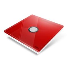 EDISIO - Interrupteur Diamond Rouge 1 Touche Base Blanche