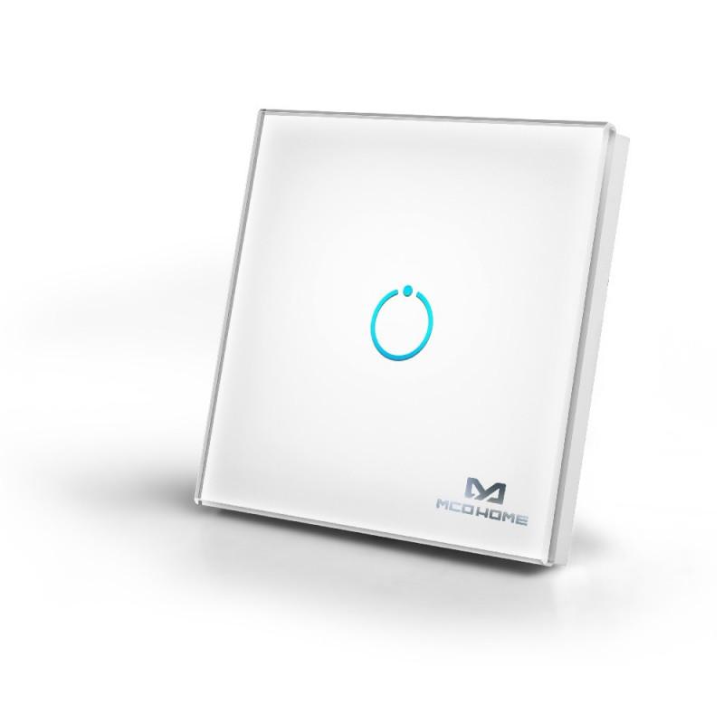 MCOHOME - Interrupteur tactile en verre Z-Wave+ 1 charge, Blanc