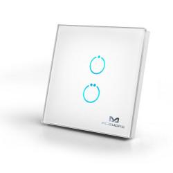 MCOHOME - Interrupteur tactile en verre Z-Wave+ 2 charges, Blanc