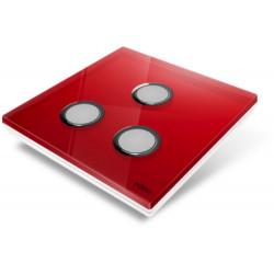 EDISIO - Plaque de recouvrement Diamond - Rouge 3 Touches