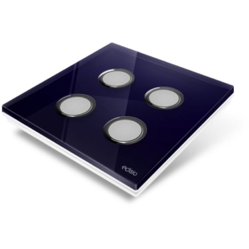 EDISIO - Plaque de recouvrement Diamond - Bleu Nuit 4 Touches