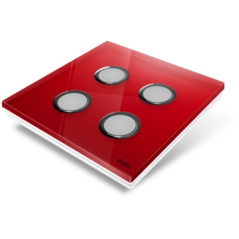 EDISIO - Plaque de recouvrement Diamond - Rouge 4 Touches