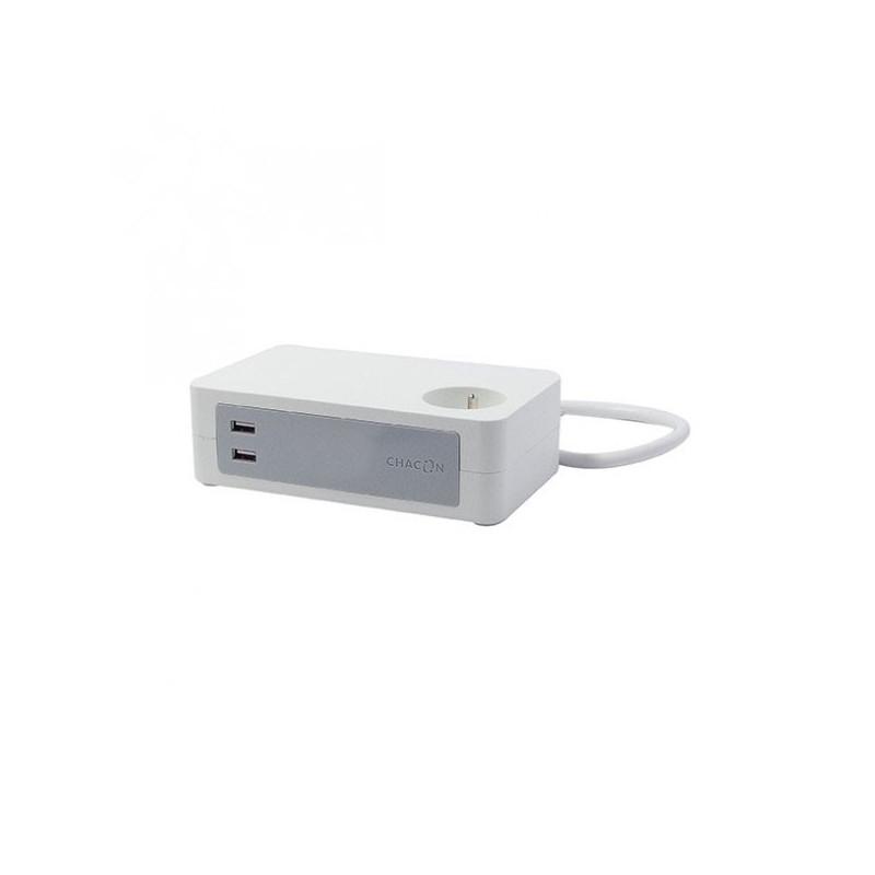 CHACON - Bloc bureau 3X16A + 2 x USB - 1,5 m - Blanc