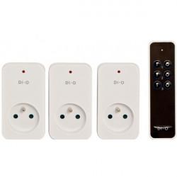 DiO - Télécommande 3 canaux + 3 modules prise ON/OFF 1500W