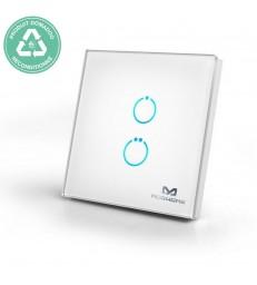 RECONDITIONNE - MCOHOME - Interrupteur tactile en verre Z-Wave 2 charges, Blanc
