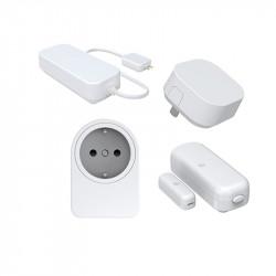 FOXX - Pack 4 accessoires (détecteur porte/fenêtre, répéteur, capteur d'eau et prise), compatible Piper