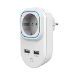 HANK - Prise commandée et consomètre Z-Wave+ avec 2 ports USB