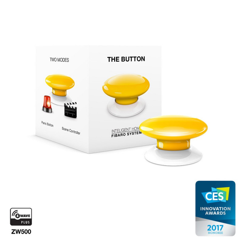 FIBARO - Contrôleur de scènes Fibaro Button Z-Wave+, jaune