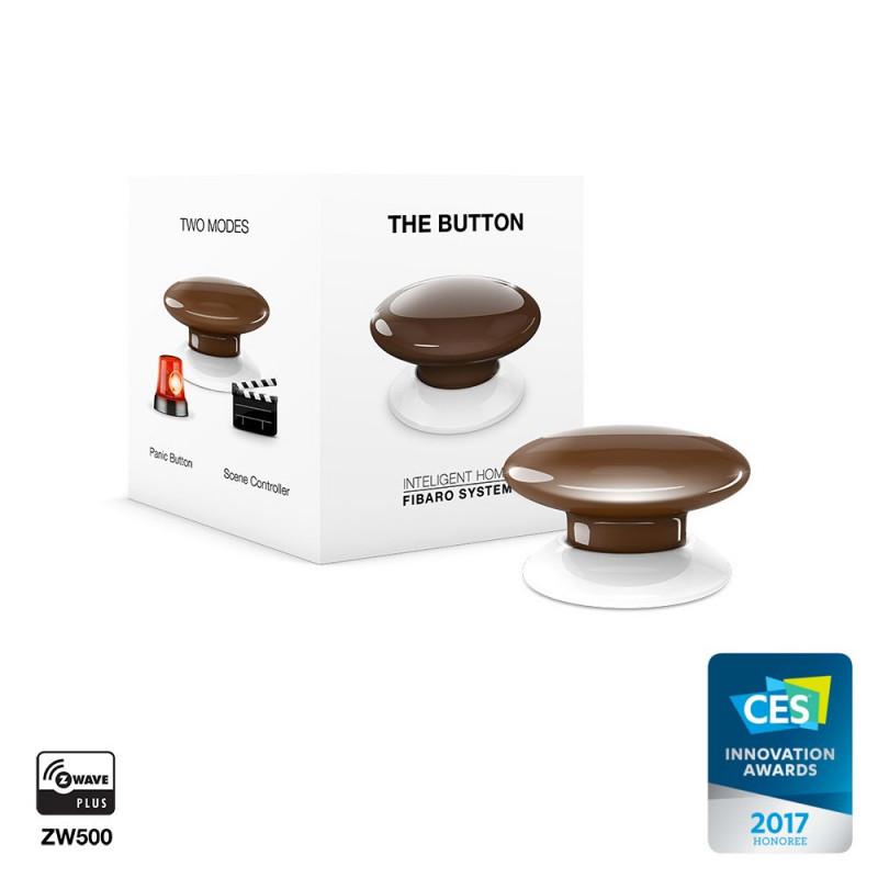 FIBARO - Contrôleur de scènes Fibaro Button Z-Wave+, marron